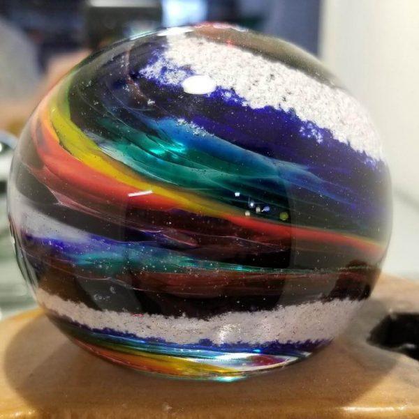 rainbow round memorial paperweight